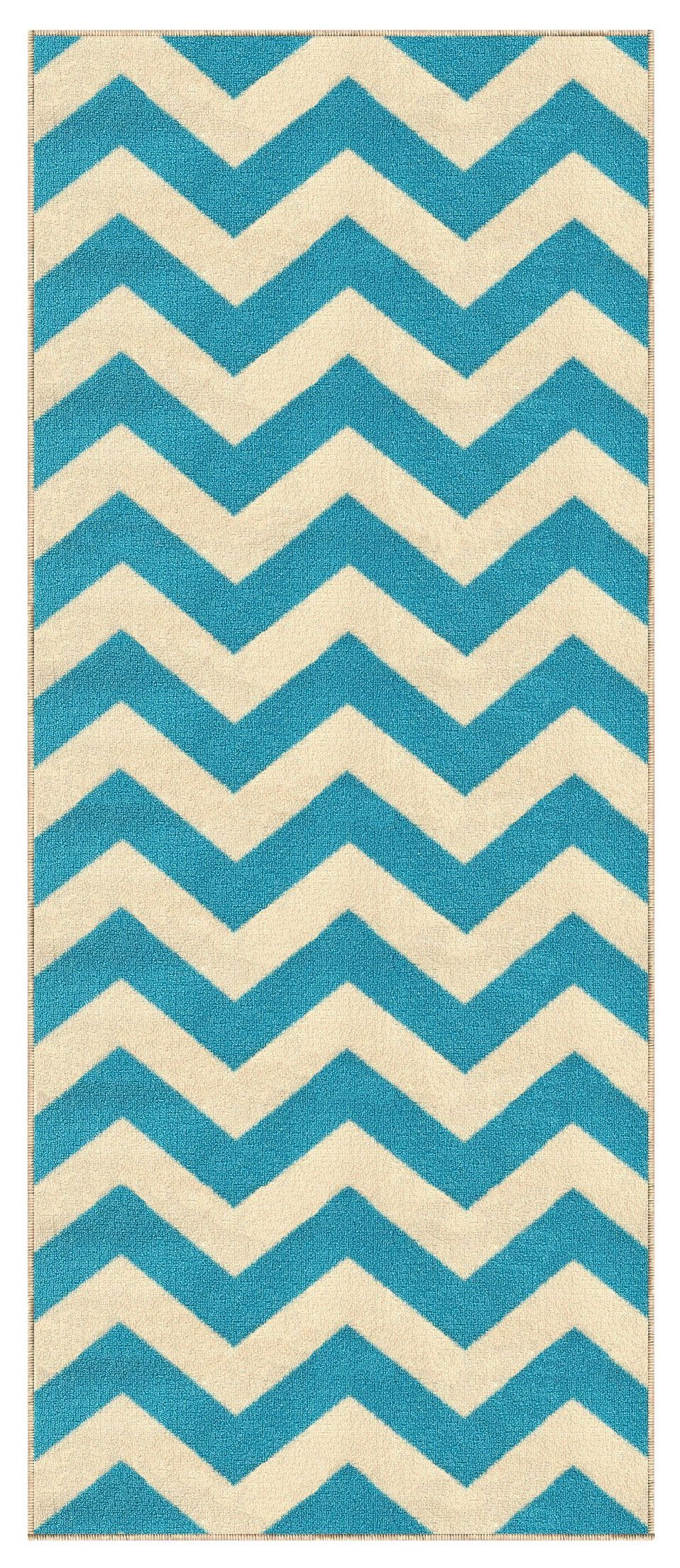 Kapaqua Rubber Backed 28 X 10 Rich Chevron Light Blue And Ivory Zig Zag Long Runner