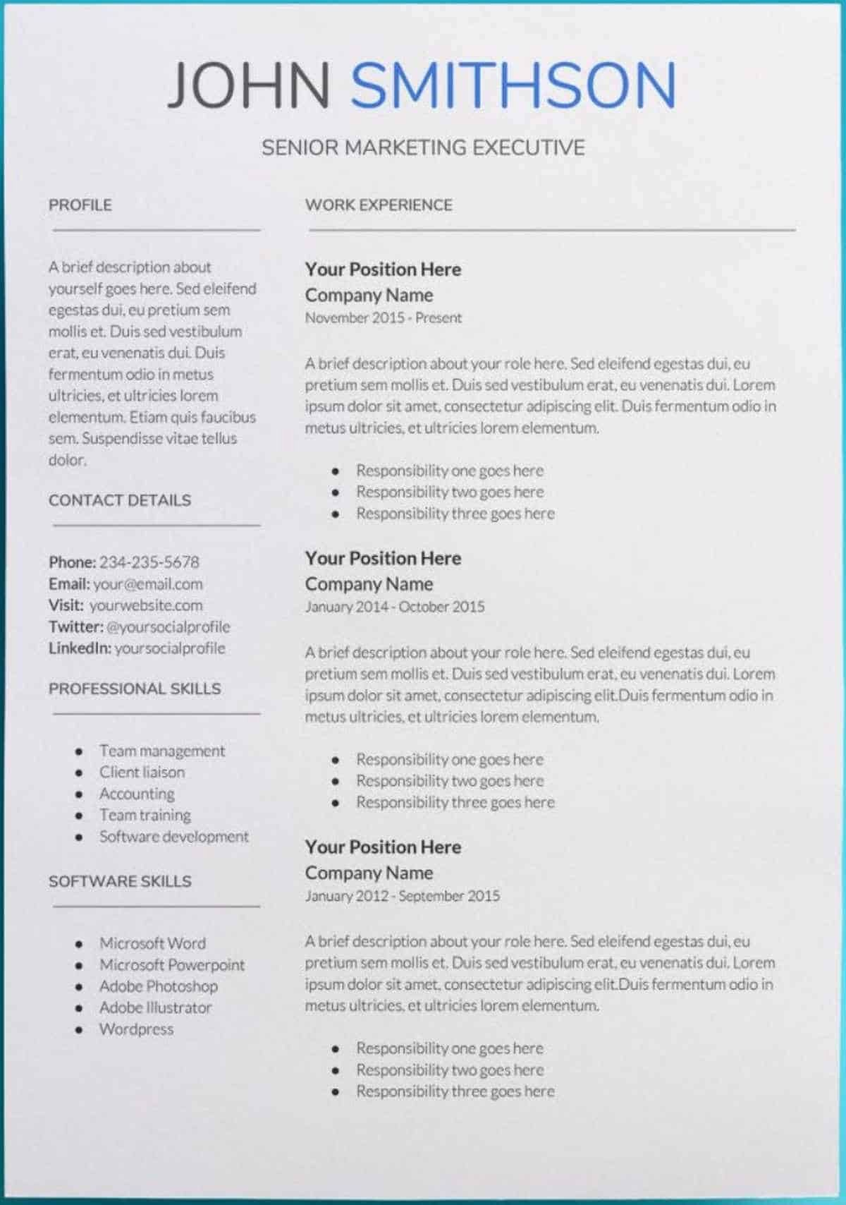 40 Resume with Picture Template in 2020 Free resume