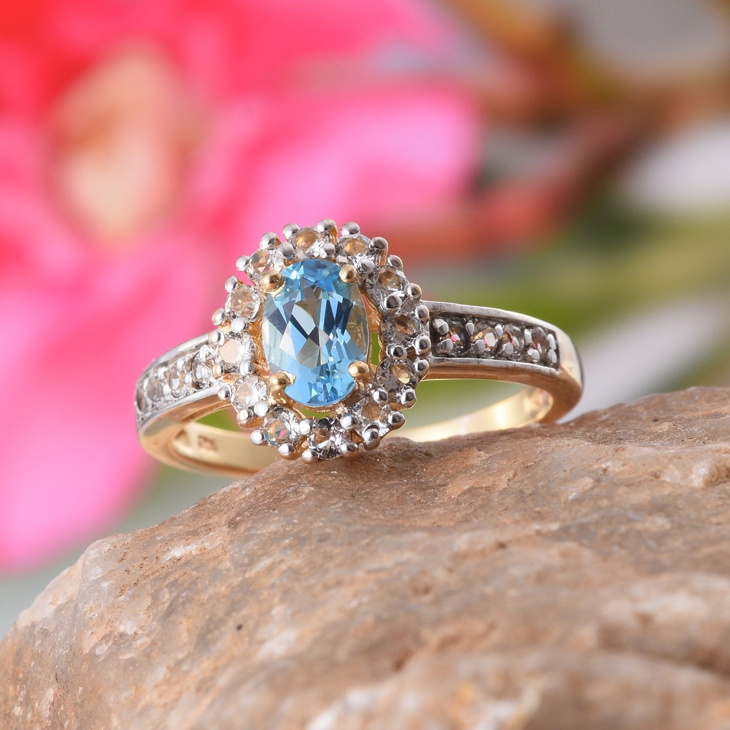 Electric Blue Topaz and White Topaz Ring in 14K Yellow Gold Overlay ...