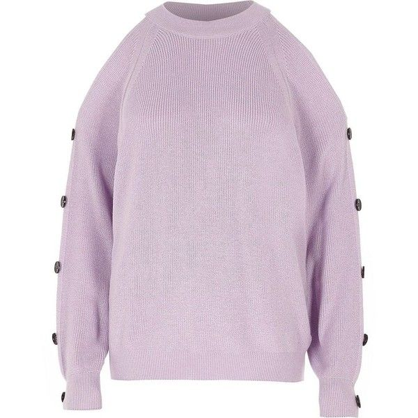 86c27753e72 River Island Light purple knit cold shoulder sweater ($34) ❤ liked ...