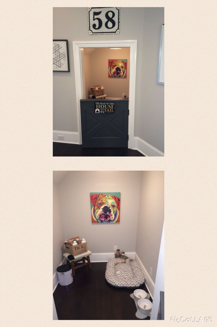 Under the stairs dog room with dutch door cheval for Muebles para gatos
