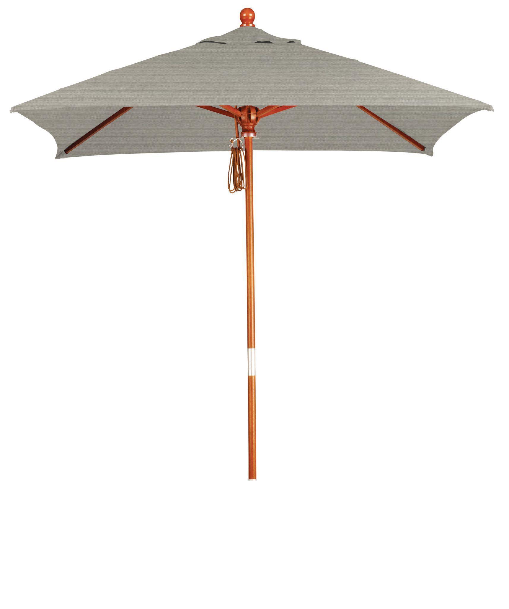 Eclipse Collection 6'x6' Wood Market Umbrella Pulley Open Marenti Wood/Sunbrella/Spectrum Dove