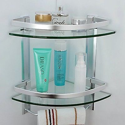 Bathroom #corner shelf 2 tier shelves #glass shower wall #mounted ...