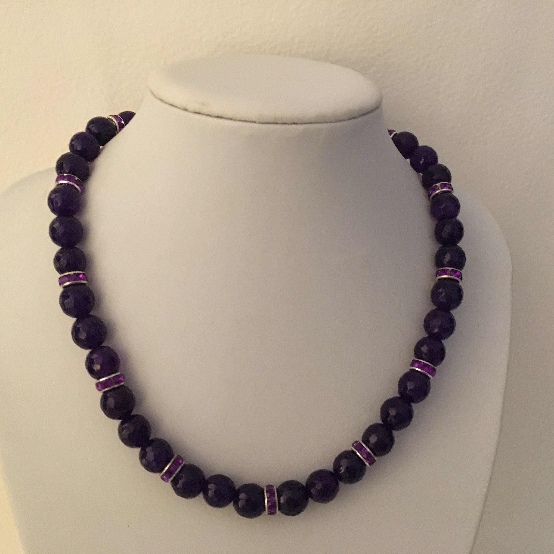 choisir officiel ordre Promotion de ventes Améhyste COLLIER perles à facettes, strass cristal violet ...