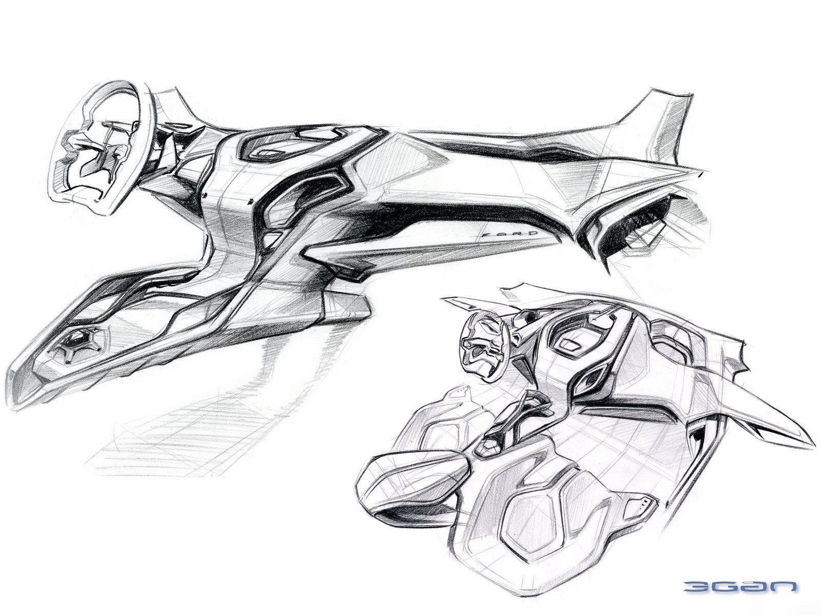 Ford Iosis MAX Concept Interior Design Sketch