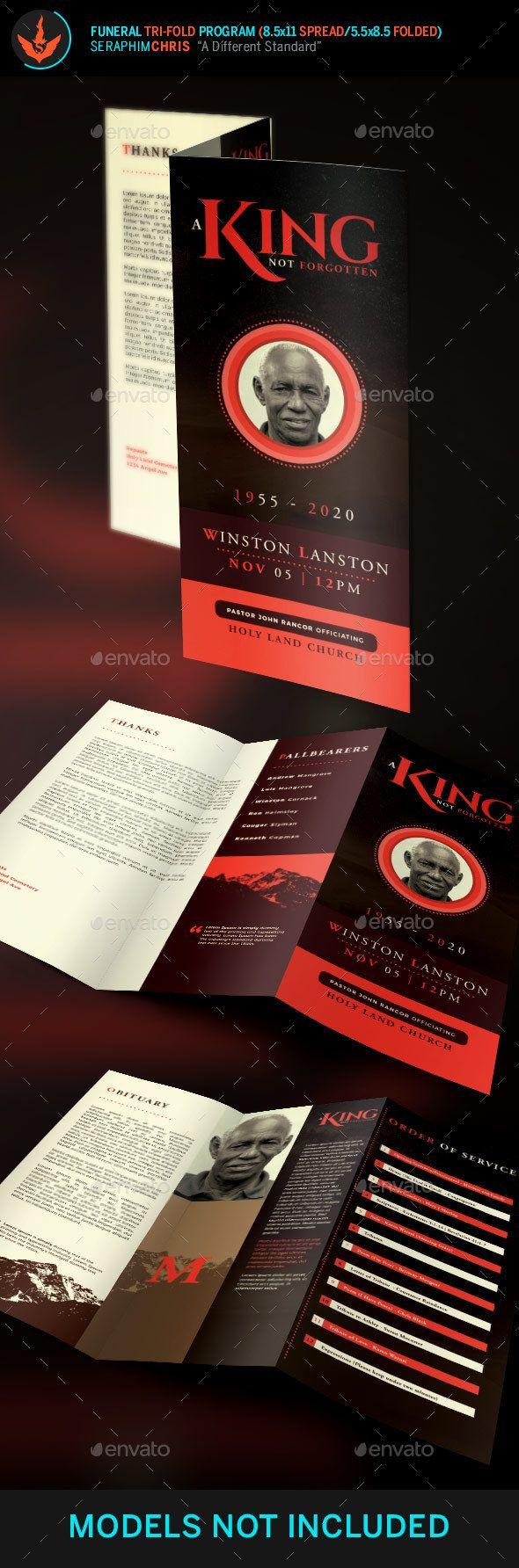 king funeral program tri fold brochure template informational brochures