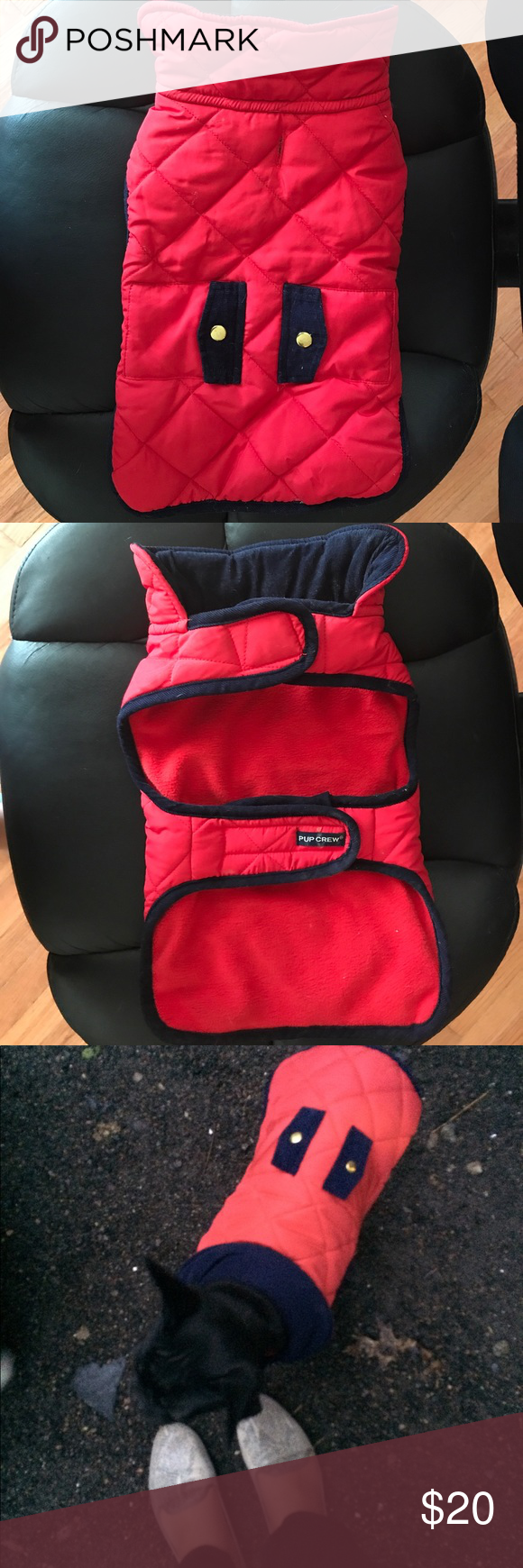 Used Dog Red Jacket Sz Medium Used while he was a puppy