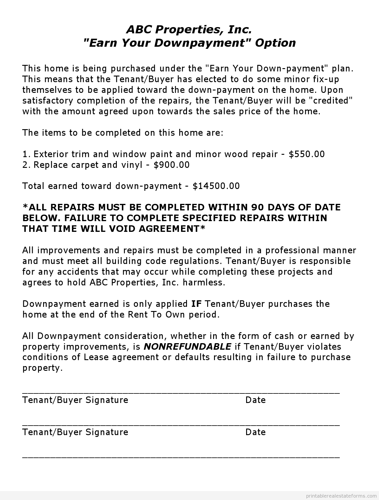 Sample Printable earn your downpayment Form Real estate