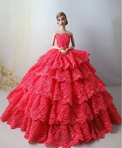 White Ball Gown with Red Sequined Lace Details Made to Fit Barbie Doll