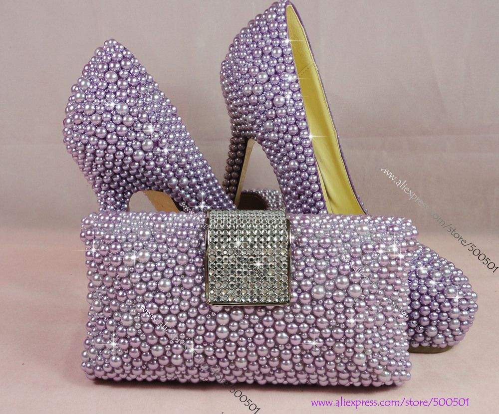 Handmade Rhinestone Women High Heel Purple Violet Wedding Dress Shoes With Matching Clutch Bag US 22180