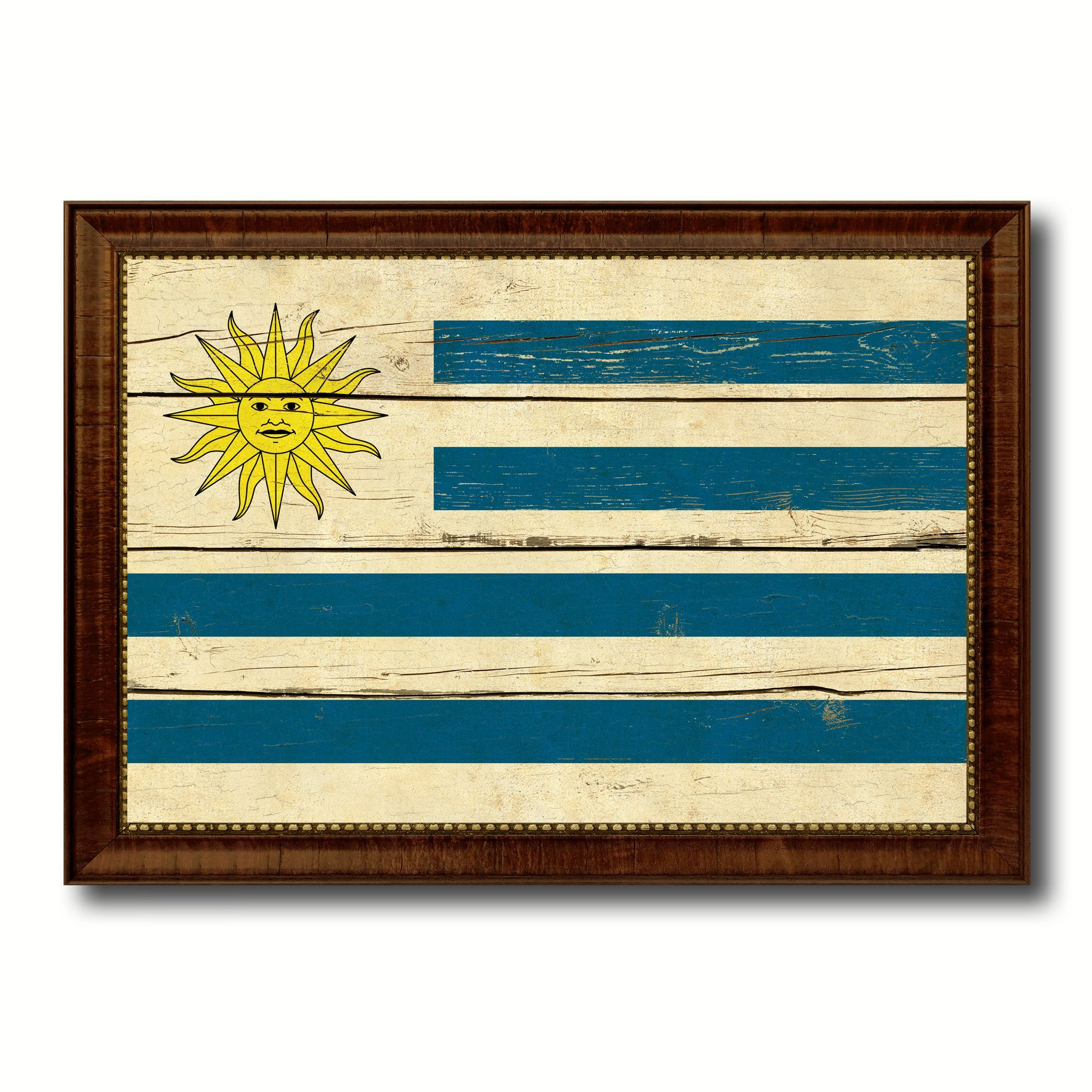 Uruguay Country Flag Vintage Canvas Print with Brown Picture Frame ...