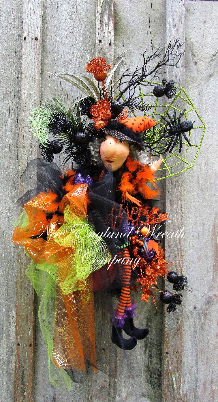 Halloween Wreath, Witch Wreath, Elegant Witch Wreath