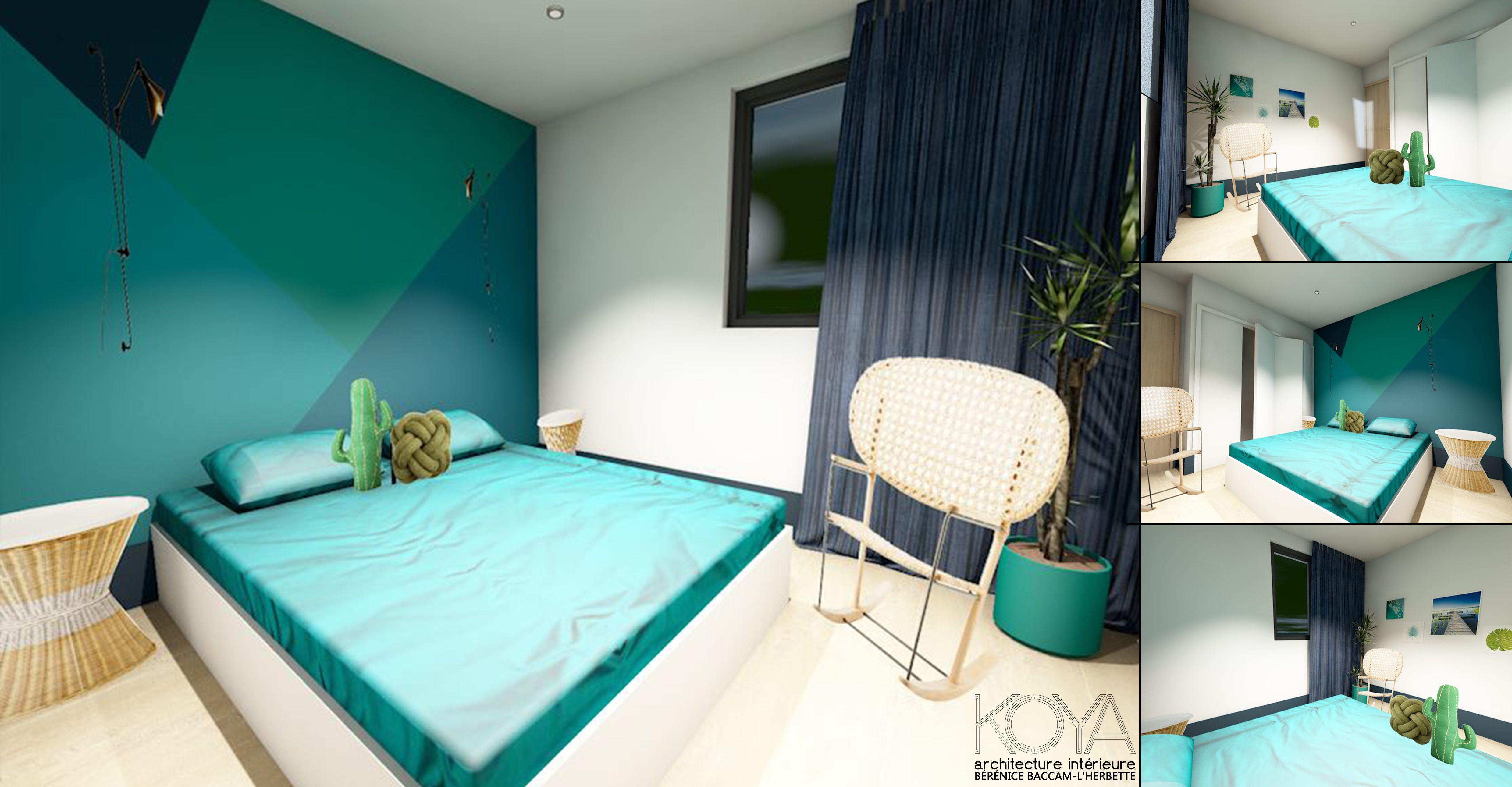 chambre parentale avec jeu graphique de couleurs : bleu canard, bleu