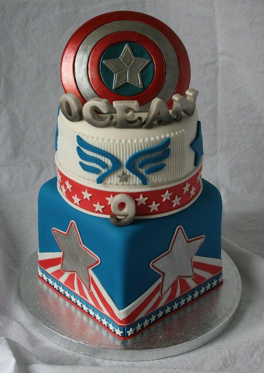 Captain America Cake For Ocean Children S Birthday Cakes Captain America Birthday Cake Captain America Cake America Cake