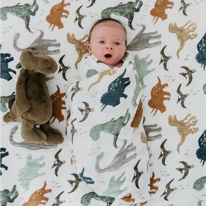 Baby Shower Gifts... Aenne Baby Muslin Baby Swaddle Blanket Dinosaur Dino Print