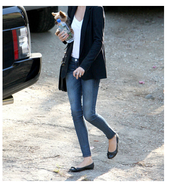skinny jeans, blazer, flats