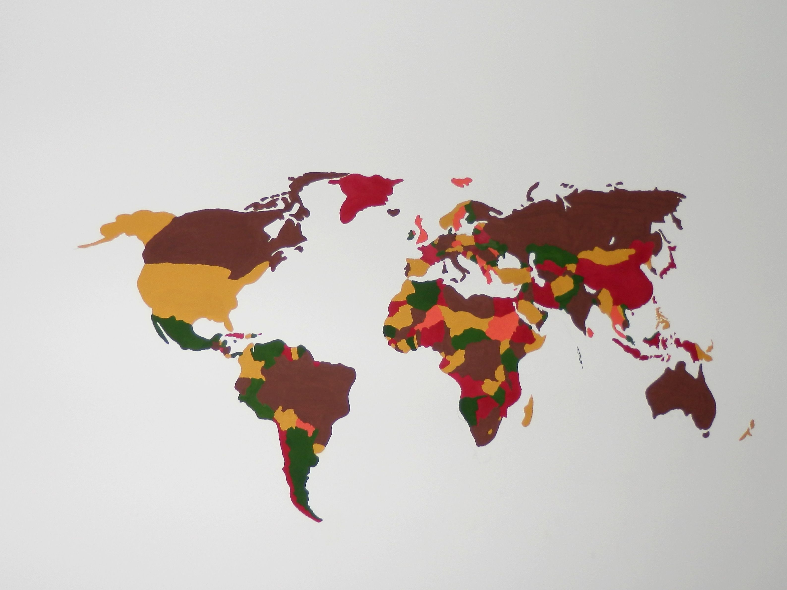 Draw the world map on wall wall decoration pinterest walls and draw the world map on wall gumiabroncs Gallery