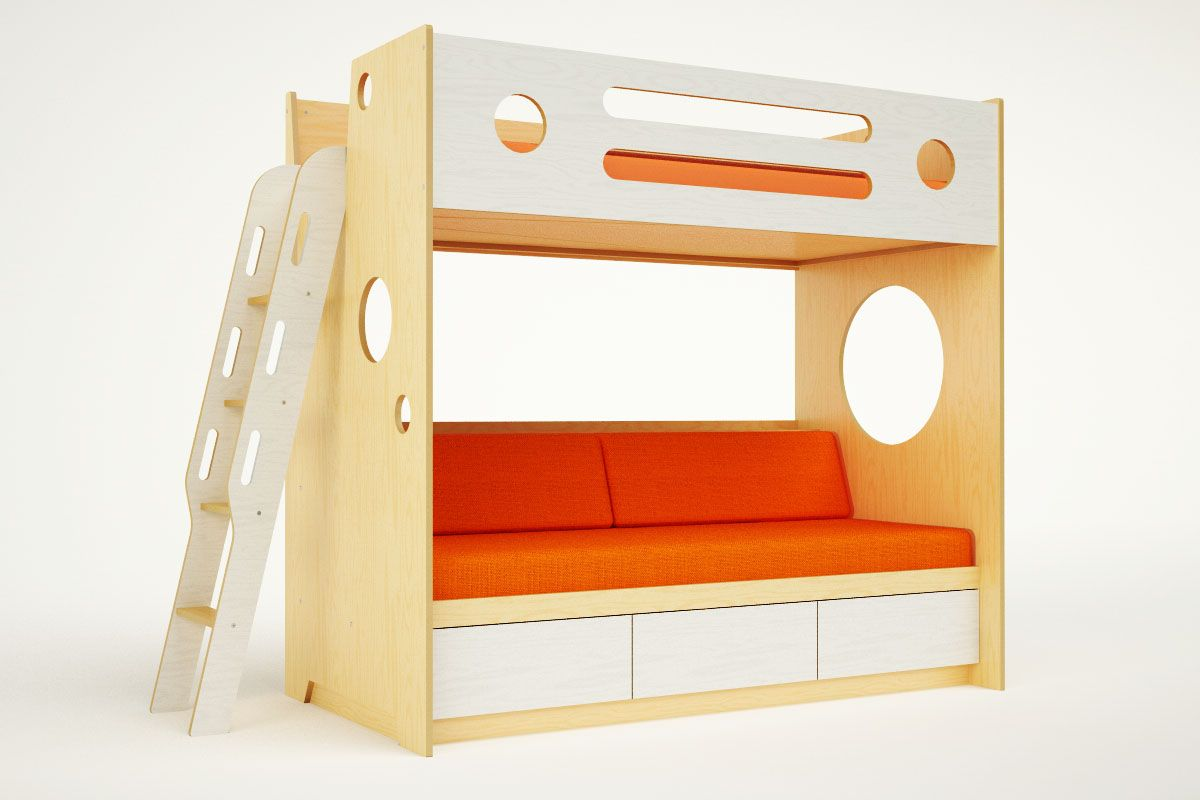 Bunk bed loft ideas  Marino bunk over daybed with ladder  Daybed Bolster cushions and