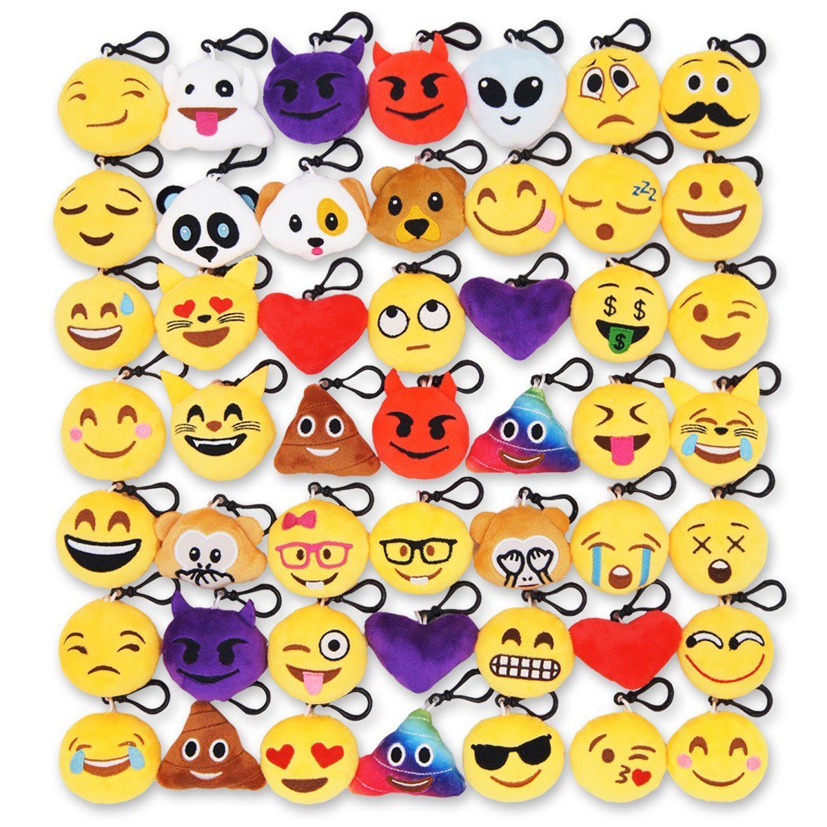 25 Pack Emoji Key Chain Mini Plush Poop Pillows Emoji Keychain Christmas//Birthday Party Supplies 2 Set of 25 Party Favors for Kids