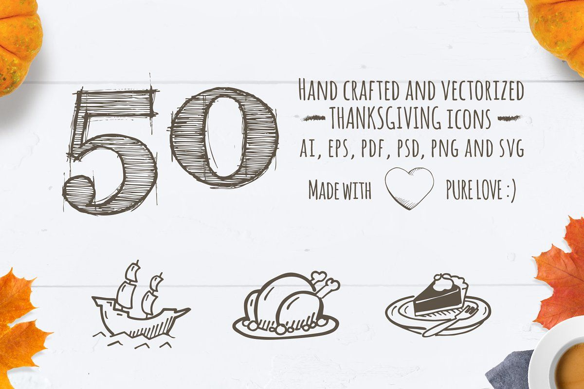 Thanksgiving Hand Drawn Icons Hand drawn icons, How to