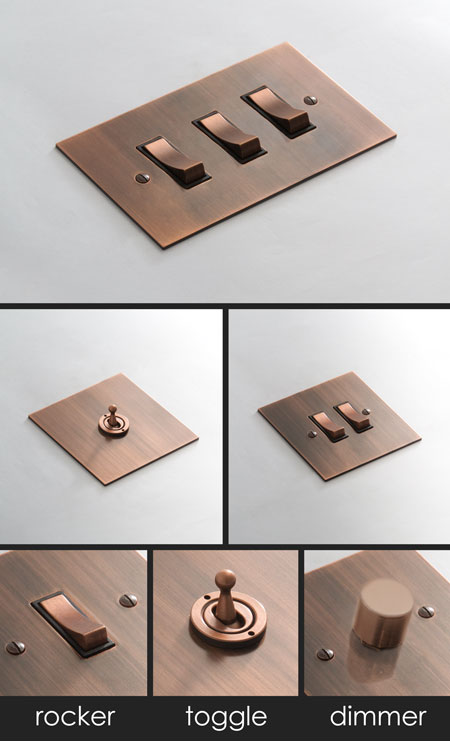 Brushed Copper Electrical Light Switch D 233 Cor Copper