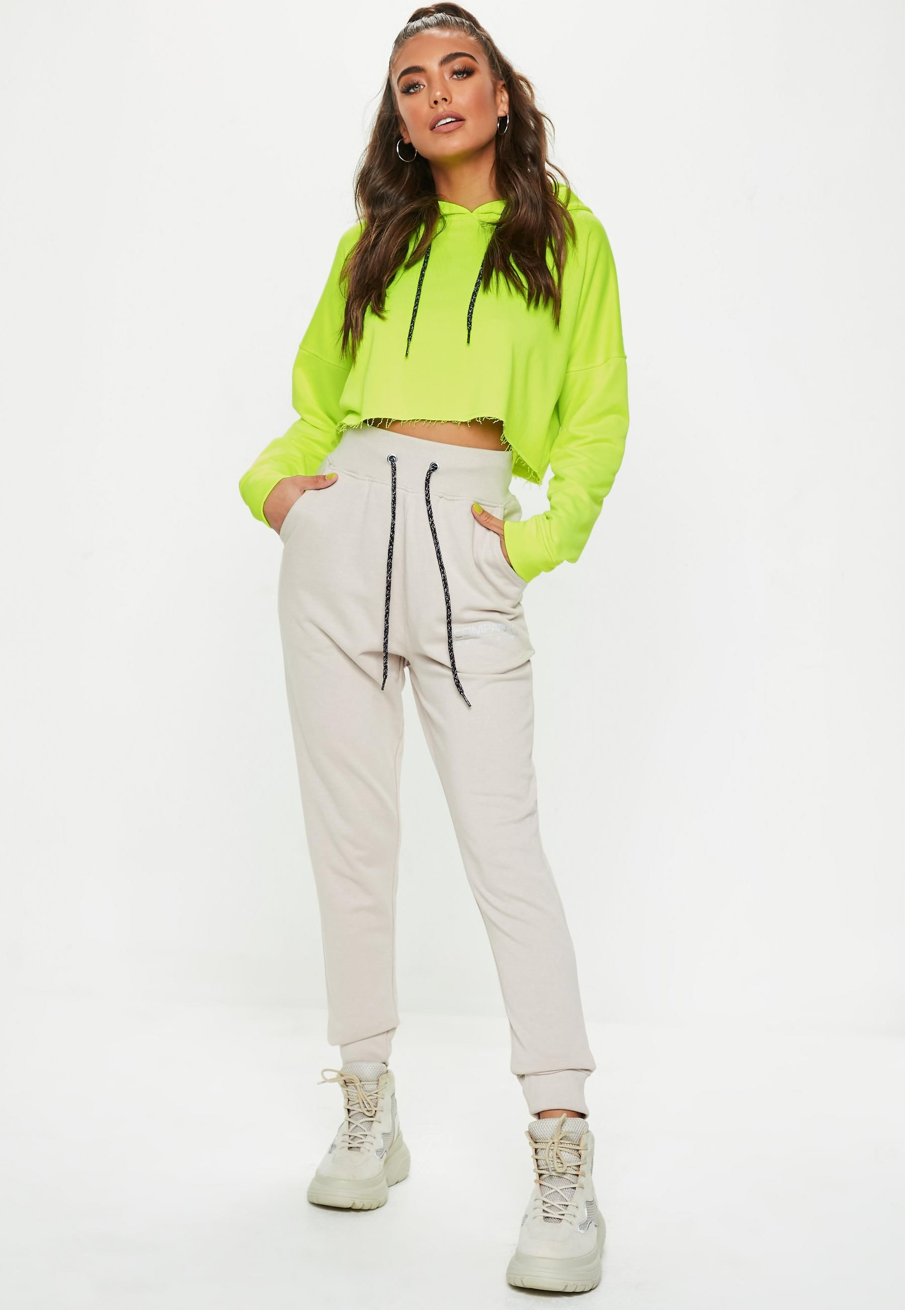 745f6fab2da Neon Yellow Crop Hooded Sweatshirt