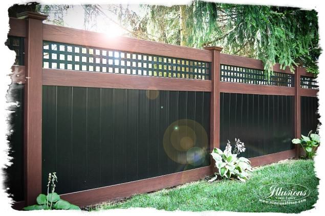 Incredible Rosewood And Black Pvc Vinyl Privacy Fence With Square Lattice Topper From Illusionsfence T Vinyl Privacy Fence Fence Planning Vinyl Fence Colors