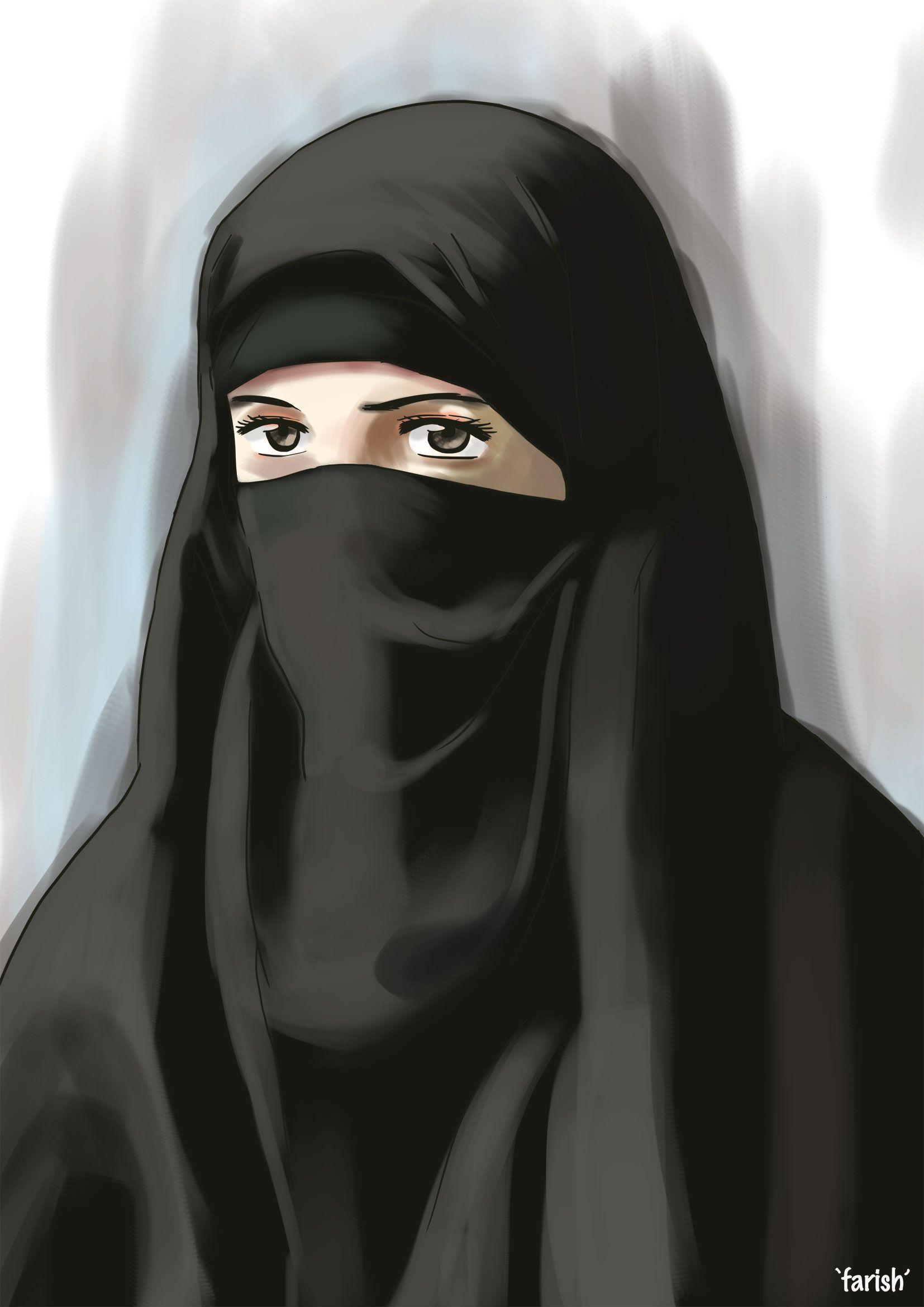 Beautiful Niqabi ) (With images) Hijab cartoon, Anime