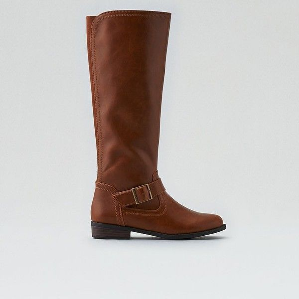 AE Tall Riding Boot (£66) ❤ liked on Polyvore featuring shoes, boots, neutral, stretch knee high boots, stretch riding boots, stretch boots, american eagle outfitters and tall riding boots