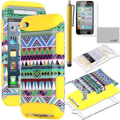 Pandamimi ULAK(TM) 3-Piece Hybrid High Impact Case Green Tribal Pattern with Yellow Silicone Inner Soft Shell for Apple iPod Touch Generation 4 with Free Stylus + Screen Protector by ULAK, http://www.amazon.com/dp/B00D76CETY/ref=cm_sw_r_pi_dp_qkYSrb1KFNB9Q