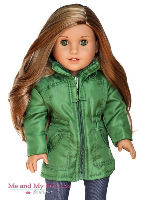 Olive Green Nylon Jacket w/ fur trim #girldollclothes