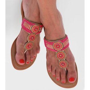 Amelia handmade leather beaded pink sandals Aspiga ethical giving jobs indian stylish fashion colourful beach