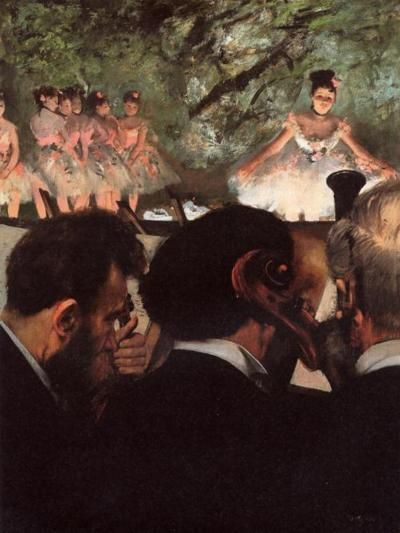 Degas. Great use of composition as it displays two different planes of activity with the dancers in the back and the musicians in the front.