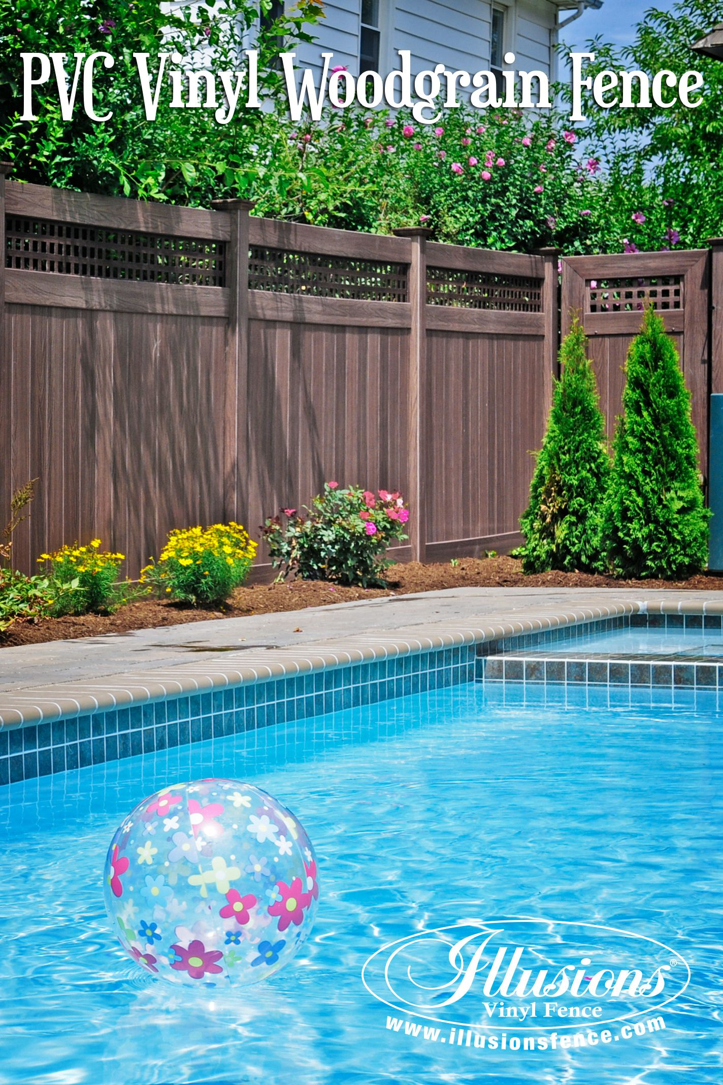 Awesome Pool Fence Idea Of Walnut PVC Vinyl Privacy Fence