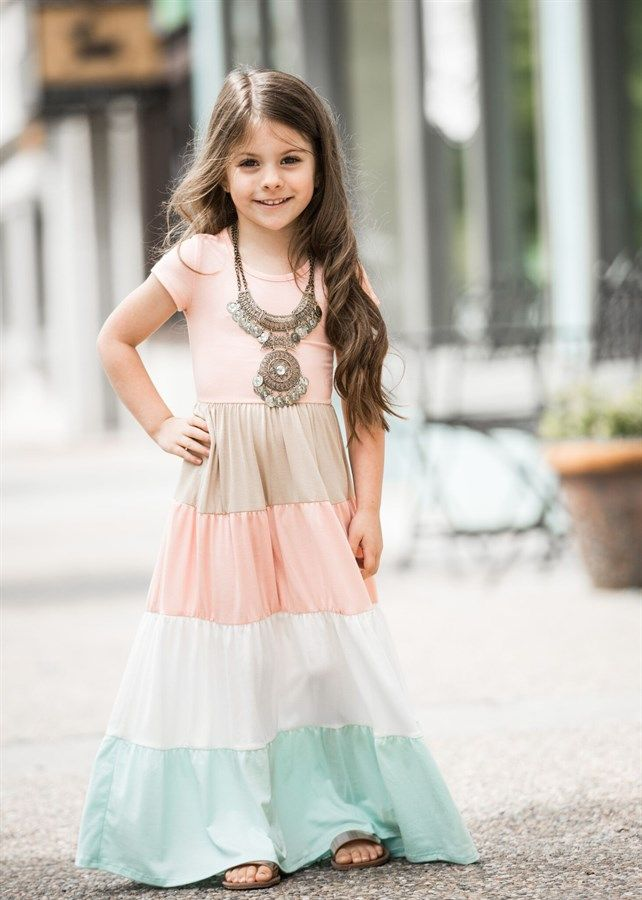 Girls Colorblock Maxi Dress  3 Styles  Kids Wear  Girls -8608