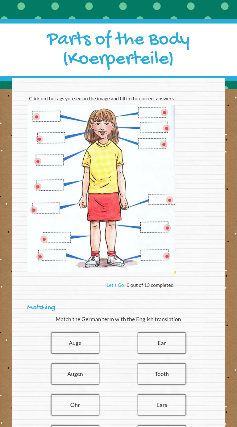 Wizer Me Blended Worksheet Parts Of The Body Koerperteile German Language Learning Learn German Blends Worksheets [ 1380 x 768 Pixel ]
