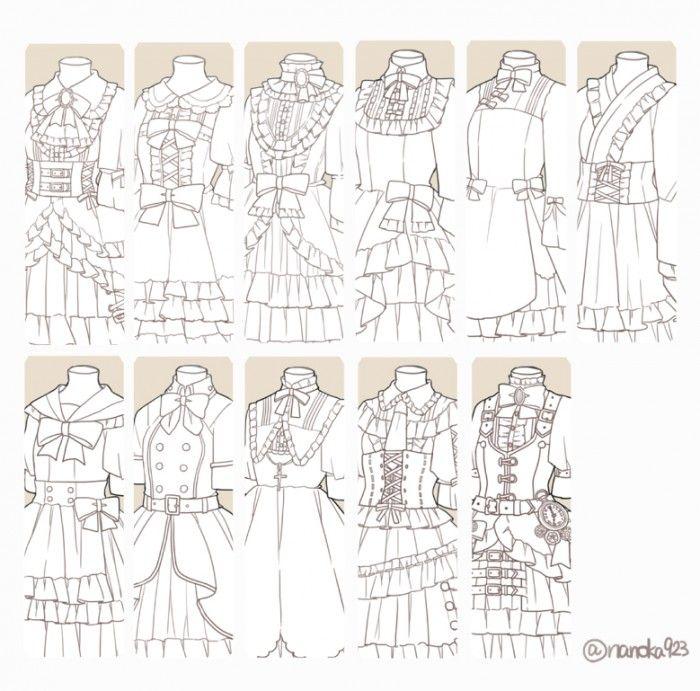 Dessiner différents style de robes lolita