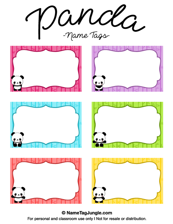 Free printable panda name tags the template can also be for Name badge label template