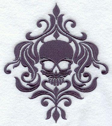 skull damask pattern for embroidery my house should look like this pinterest damasks. Black Bedroom Furniture Sets. Home Design Ideas