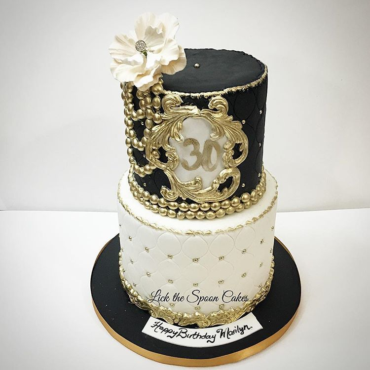 Marilyns 30th birthday cake gold black white 30 birthday