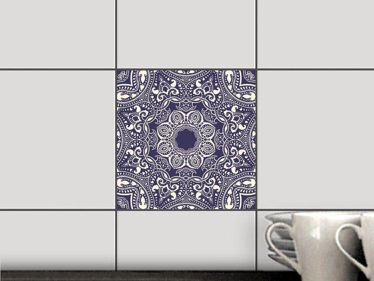 Blue Mandala für Fliesen Fliesenfolie Quadratisch 15x15 cm - 1x1 - fliesenspiegel küche überkleben