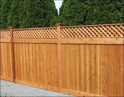 Western Red Cedar English Lattice Style Fence With Flat Top Post