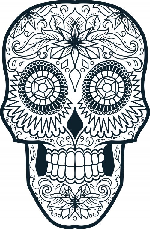 sugar skull coloring page 4