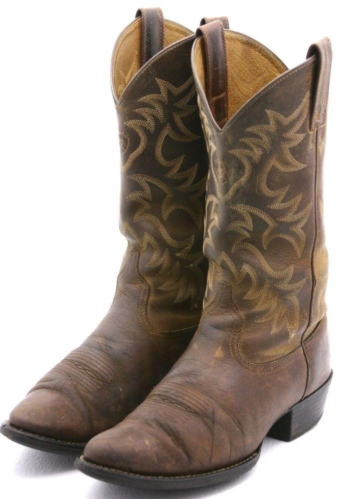 c7085d5c82f Details about MENS ARIAT HERITAGE R-TOE DISTRESSED BROWN COWBOY ...