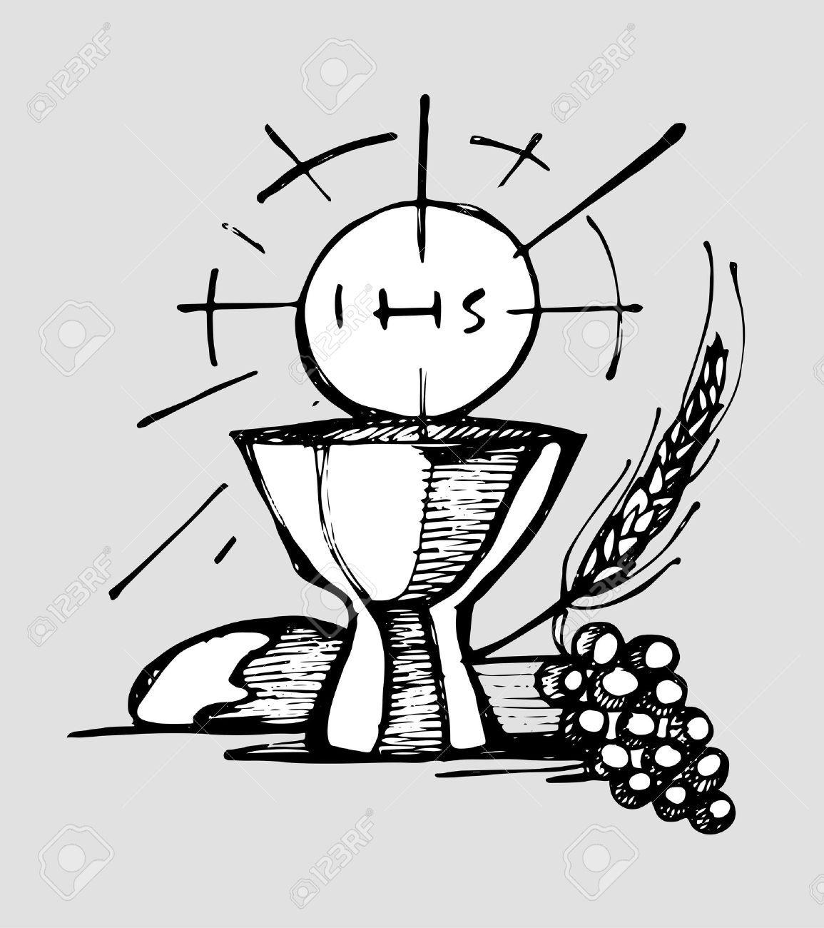 Dibujado A Mano Ilustracion Vectorial O Dibujo De Una Copa De Host Uvas Y Pan De Trigo Representacion Sacramento Catolico Eucaristia Eucaristia Manos Dibujo Ilustracion Vectorial