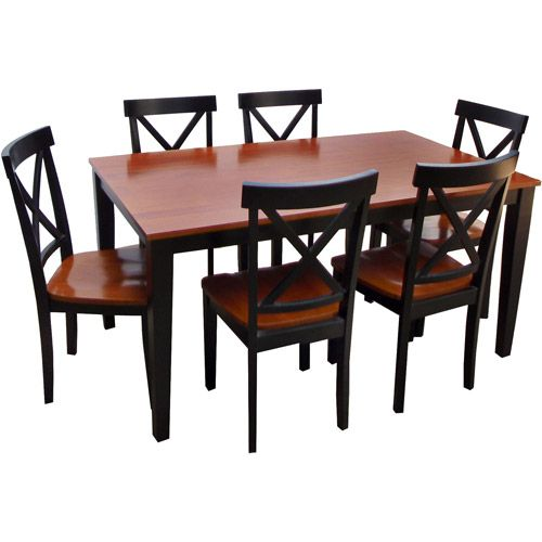 Cross Back 7 Piece Dining Set Black and Cherry Walmartcom