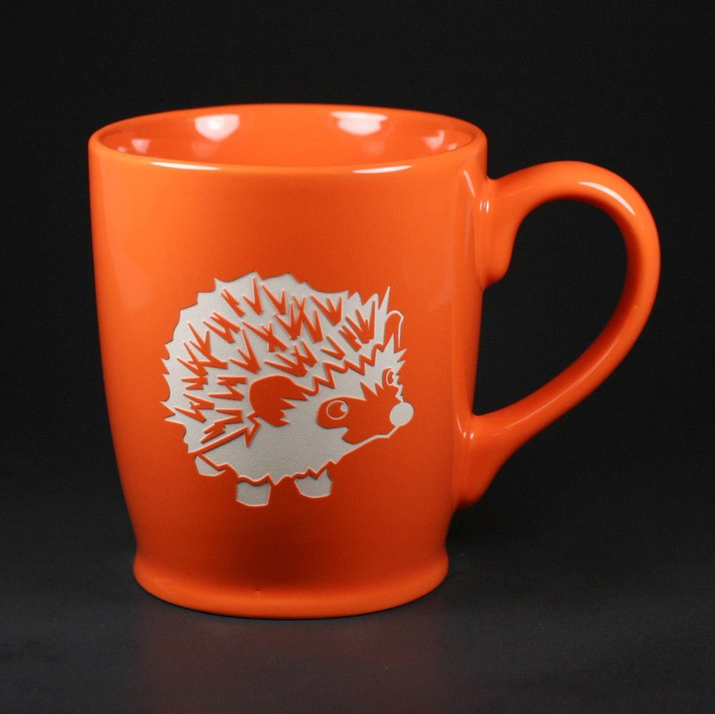 We're all a little spiny before our morning coffee, right? This cute, spiny hedgie will keep you company. This large, sturdy coffee mug comes in tangerine orange, navy blue, sky blue or celery green.