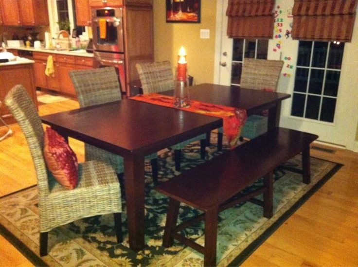 Fall Inspired Dining Room Featuring Pier 1 Torrance Table And Bench With Kubu Hand Woven Chairs