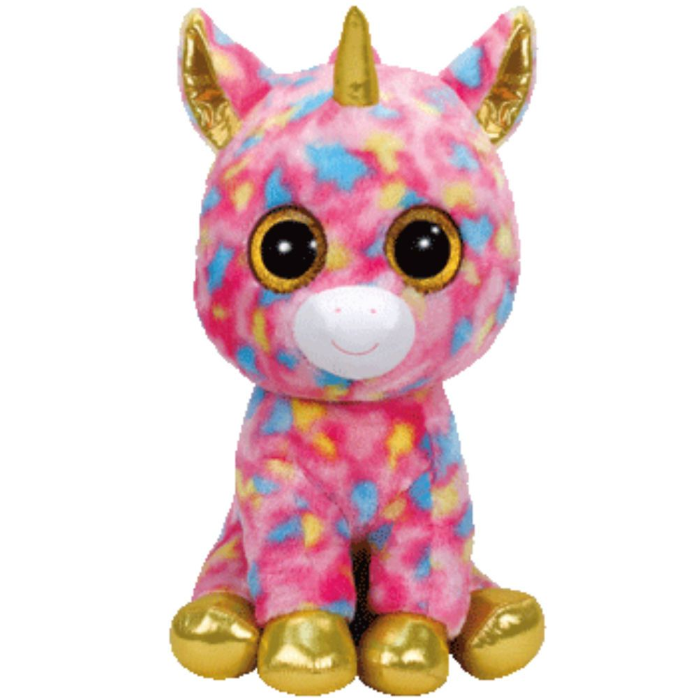 Ty Beanie Boos LARGE Fantasia Multicolored Unicorn Boo Soft Toy Plush NWMT f2b6dd248723