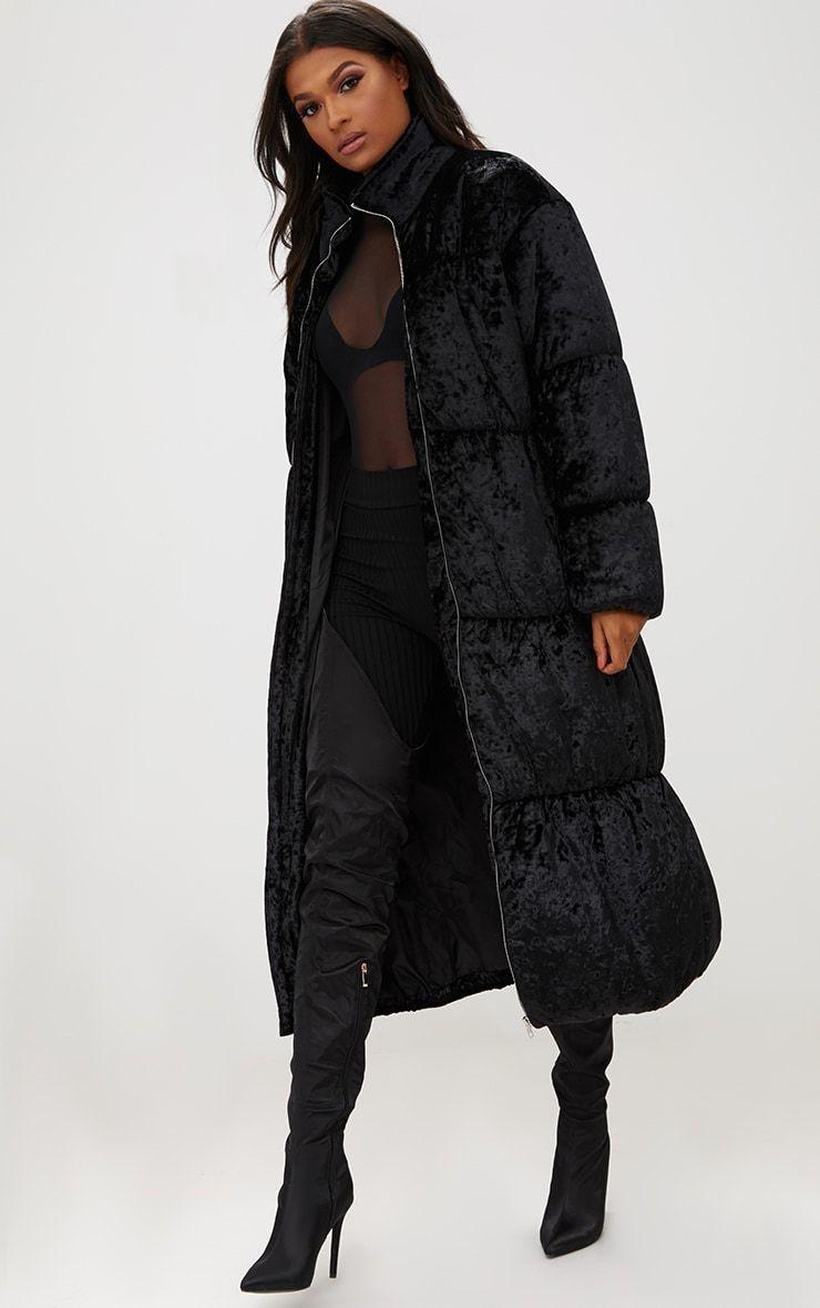Black Velvet Longline Puffer Coat Puffer Coat Outfit Puffer Coat Fashion [ 1180 x 740 Pixel ]